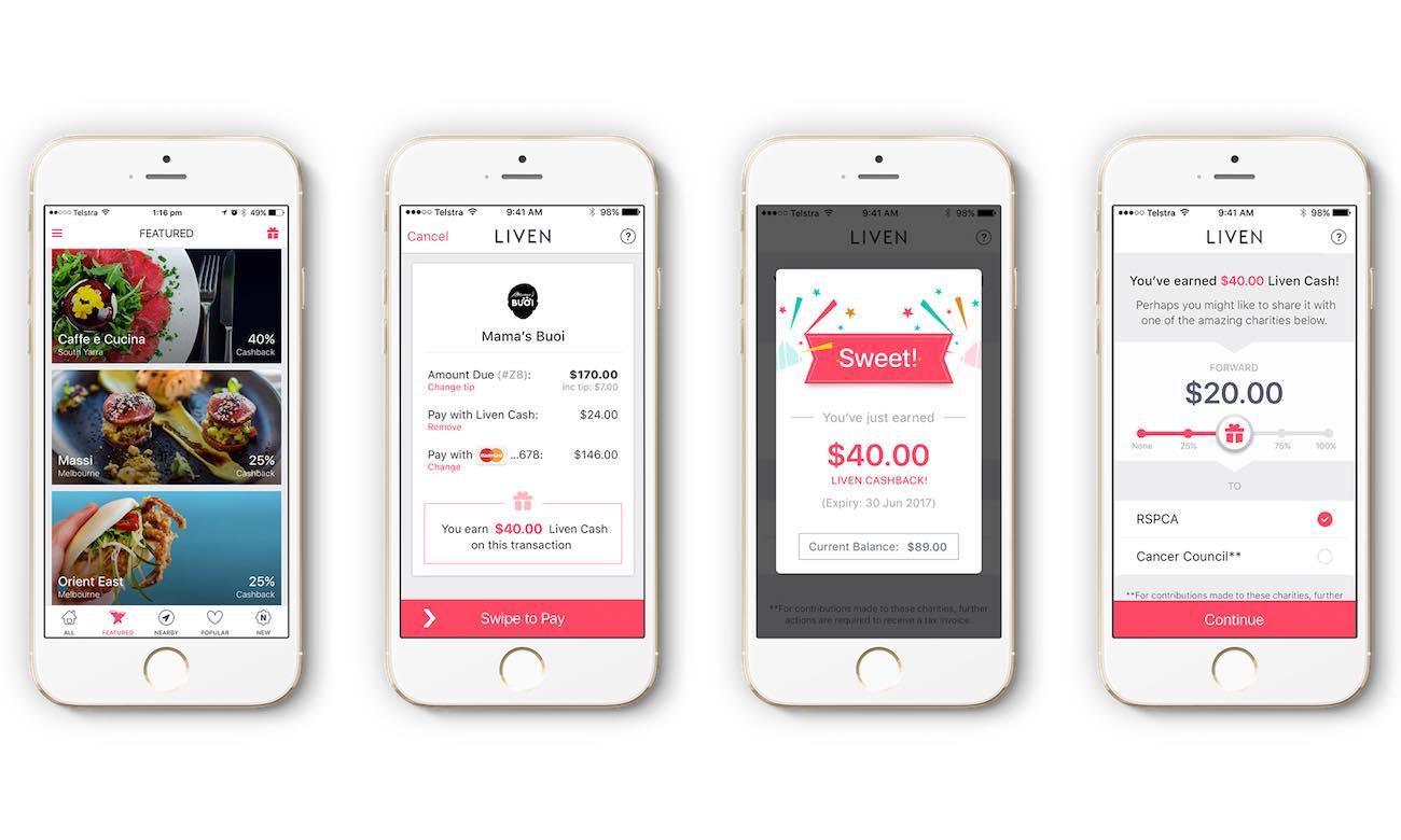 Screenshots of Liven App